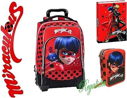 Mochila escolar Miraculous Ladybug + estuche + diario + colgante de regalo: Amazon.es: Oficina y papelería