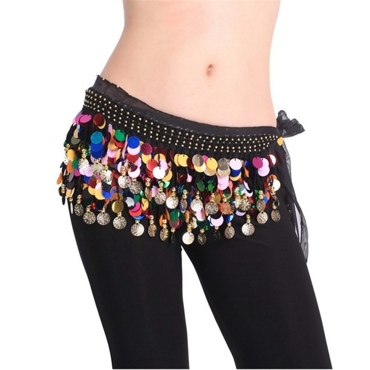 Belly Dancing Dance Waistband Hip Skirt Scarf With Multicolor Sequins 12007