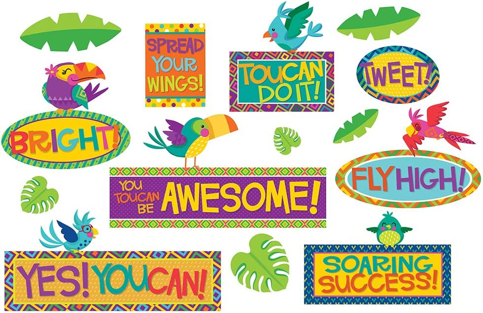Eureka Back to School 'You Can Tucan' Tropical Birds Motivational Reading Bulletin Board and Classroom Decorations, 20pc, 6'' W x 21'' H