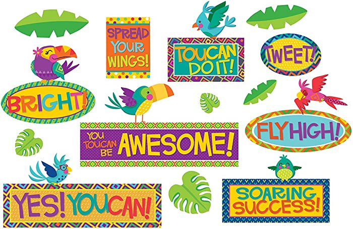 The Best Eureka Tropical Birds Motivational Reading Bulletin Board Set