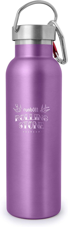 PracticDomus Botella Térmica Runbott Rolling Stone 600 ml en Acero Inoxidable sin BPA con Recubrimiento Interno Cerámico y Doble Capa con Vacío. Sin Sabor Metálico. Incluye Mosquetón. Color