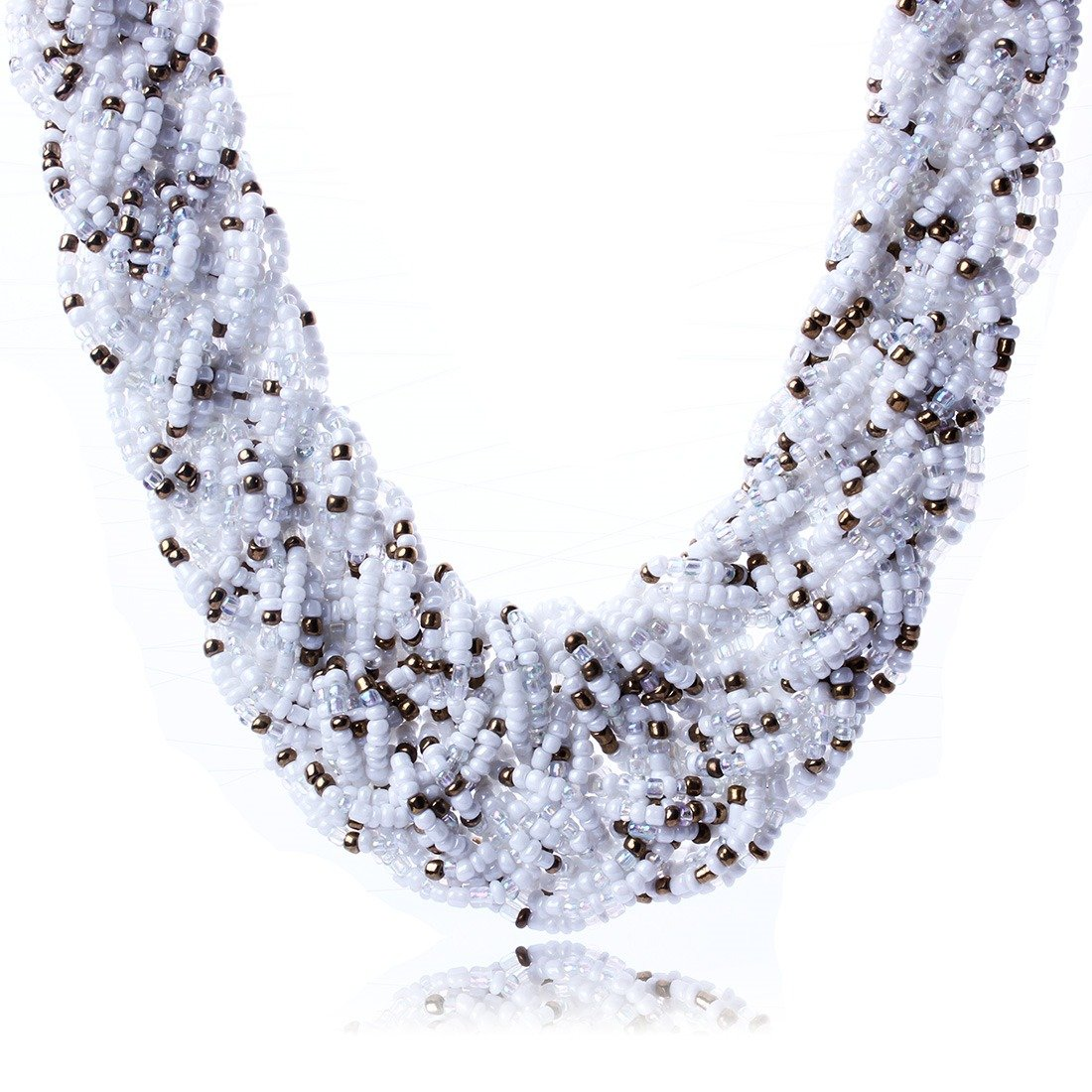 Qiyun Multi-Layer Chunky White K Plated Beaded Collar Necklace Multi-Couche K Blanc Plaque Collier W005N1641