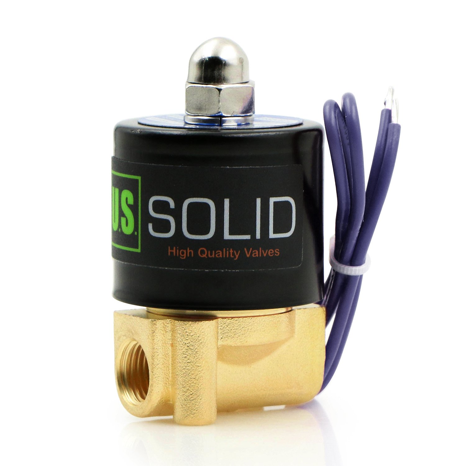 """1/4"""" NPT Brass Electric Solenoid Valve 12VDC Normally Closed VITON (Standard USA Pipe Thread). Solid Brass, Direct Acting, Viton Gasket Solenoid Valve by U.S. Solid."""
