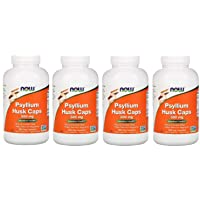NOW Supplements, Psyllium Husk Caps 500 mg, Non-GMO Project Verified, Natural Soluble Fiber, Intestinal Health, 500 Veg Capsules, 4 Pack