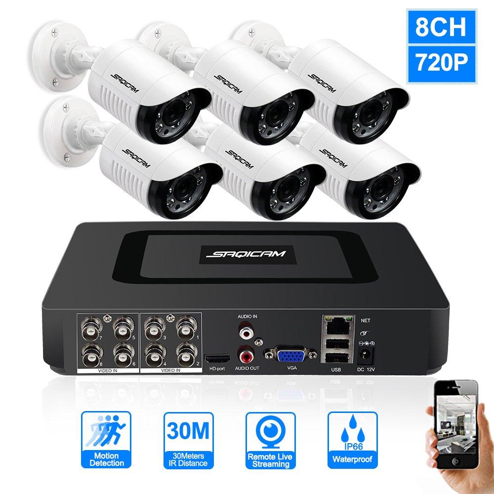 人気ブランドを SAQICAM 8Ch SAQICAM 720P B07CW9X2SJ Cctvシステム1080NのAhdのDvrの6作品の1200TvlのCctv屋外弾丸の防犯カメラ防水の自宅の監視のDvrのキット 8Ch B07CW9X2SJ, 大きいサイズのメンズ服 ミッド:934e45b4 --- martinemoeykens-com.access.secure-ssl-servers.info