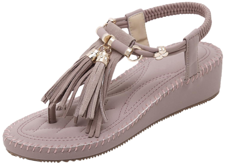 BIGTREE Women Sandals Summer Beach Bohemian Platform Fringe Wedge Thong Sandals B072WNL4N5 7 B(M) US|Purple