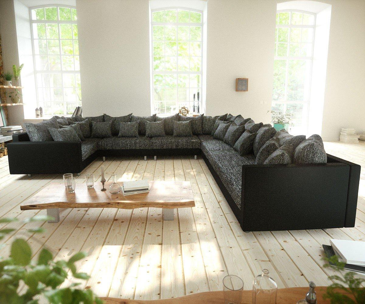 Couch Clovis Xxl Schwarz Mit Armlehne Ottomane Rechts Wohnlandschaft