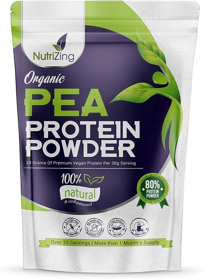 Proteína en Polvo Orgánica de Guisante sin Sabor NutriZing - 80% Proteína - Más de 30 raciones - Lo mejor para vegetarianos y veganos - Libre de Soya ...