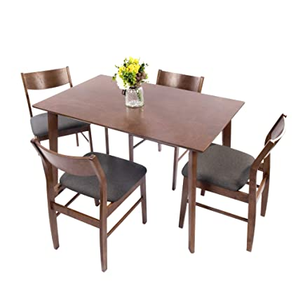 Dporticus 5-Piece Kitchen & Dining Room Sets Rustic Industrial Style Wooden  Kitchen Table and Chairs with Rubber Wood- Brown