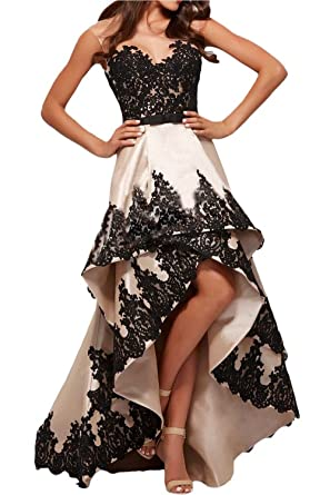 M Bridal Womens Lace Appliques Illusion Crew Neck High Low Satin Prom Dress Champagne Size 2