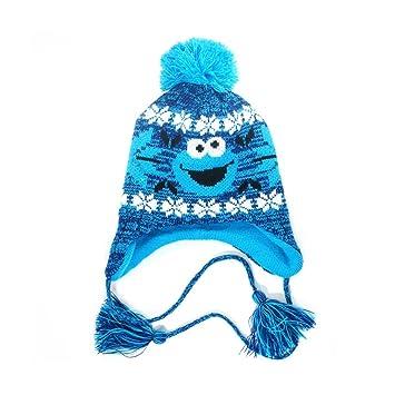 Cookie Monster Sesame Street Cookie Monster Beanie Hat Laplander Cap with  Pom Pom Bobble Beanie Hat with Bobble Bobble Hat Knitted Winter Hat   Amazon.co.uk  ... 300726da0b9