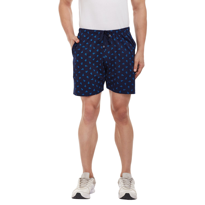 VIMAL JONNY Navy Blue Printed Shorts for Men