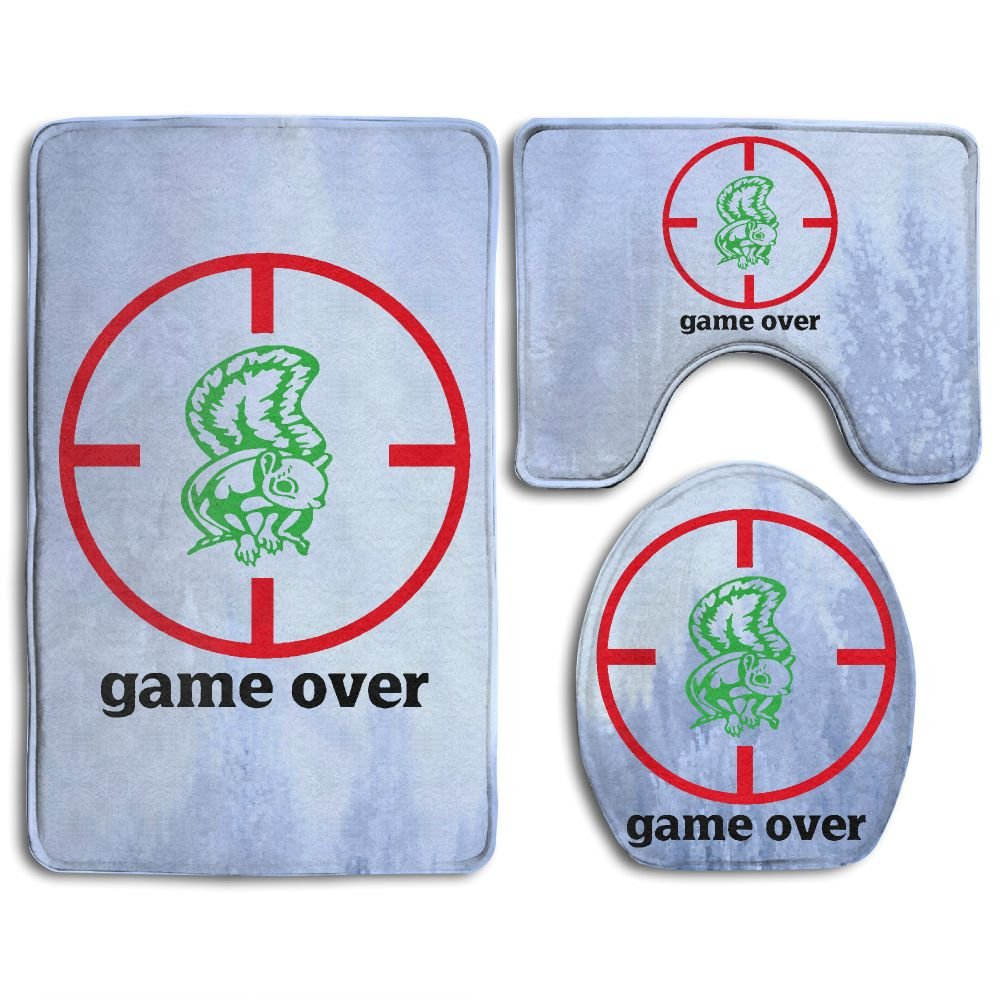 Game Over Fashion Bath Mat Set 3 Piece Bathroom Mats Set Non-Slip Bathroom Rugs/Contour Mat/Toilet Cover