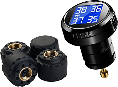 Vesafe Tire Pressure Monitoring System TPMS, Wireless Real-time Cigarette Lighter Plug TPMS CL-201, Tire Pressure and Temperature Gauge with 4 DIY External Cap Sensors (0-6Bar/0-87Psi)