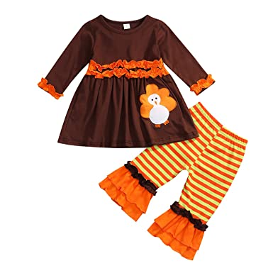 fcd749f823a2 Toddler Baby Girls Thanksgiving Outfit Turkey Print Ruffle Top+Pants  Clothes Set (2-