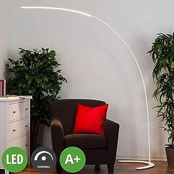 colore Bianco lampada LED da terra Moderno in Metallo ad es 1 luce, A+, lampadina inclusa Lampada LED da terra Danua dimmerabile Soggiorno /& Sala da pranzo di Lampenwelt