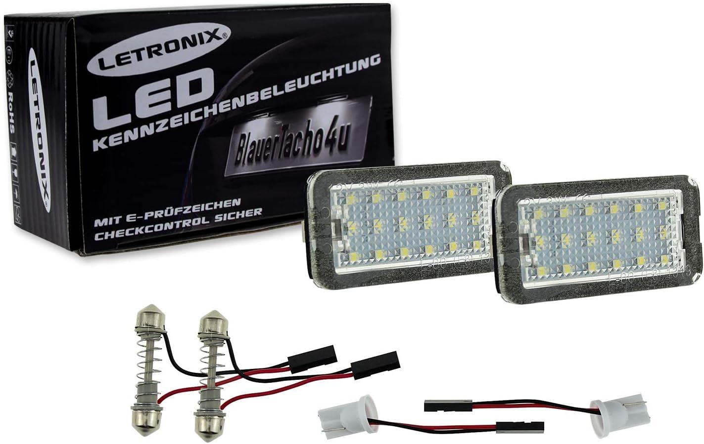 LETRONIX SMD LED Kennzeichenbeleuchtung Module 500 2007-2016 500C Cabrio 2009-2016 mit E-Pr/üfzeichen