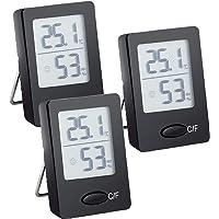 3 PCS Mini Termómetro Higrómetro Digital Termómetro Higrometro Casa Interior Digital (Negro)