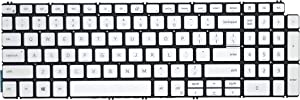 Replacement Backlit Keyboard Compatible with Dell inspiron 5508 5501 5584 5590 5593 5594 5598 Series Laptop Silver Frame US Layout
