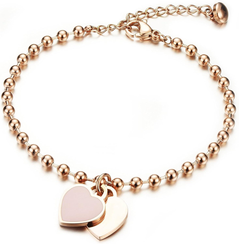 Pulsera de mujer con oro rosa grabado, bola de acero inoxidable de Gutcandie colgante de corazón doble collar de perla brazalete de cadena de brazo con pulsera acorazada de tobillo.