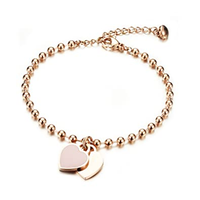 c1324051d909b Women s Bracelet with Engraved Rose Gold Gutcandie Stainless Steel Ball  Double Heart Pendant Pearl Chain Bracelet