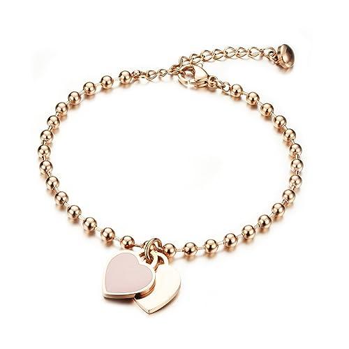 Pulsera de mujer con oro rosa grabado, bola de acero inoxidable de Gutcandie colgante de corazón doble collar de perla brazalete de cadena de brazo ...