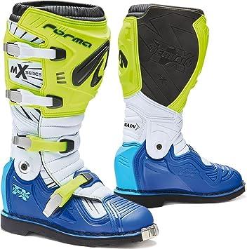 Forma Terrain TX - Botas de Motocicleta homologadas en Color Amarillo neón, Blanco y Azul