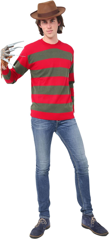 Hombre Rojo y Dk. Verde Franja Freddy Kruger Disfraz Jersey - Rojo ...