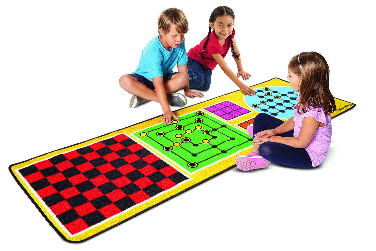 Melissa & Doug 4-in-1 Game Rug (78.5 x 26.5 inches) - 4 Board Games, 36 Game Pieces by Melissa & Doug (Image #1)