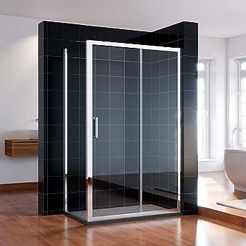 Mampara de ducha Sonni, con puerta corredera, nicho de 8 mm ...