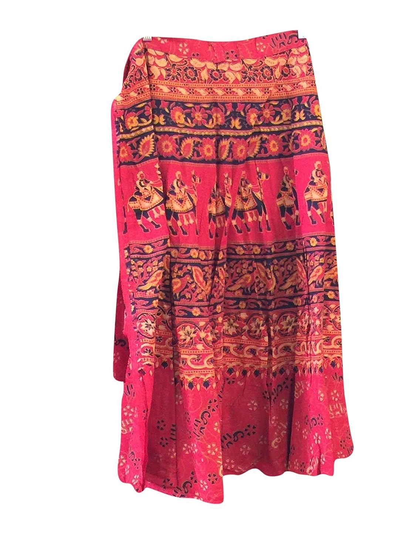 Mogul Interior Magic Wrap Around Skirt Red Animal Printed Cotton Long Wrap Dress Skirts