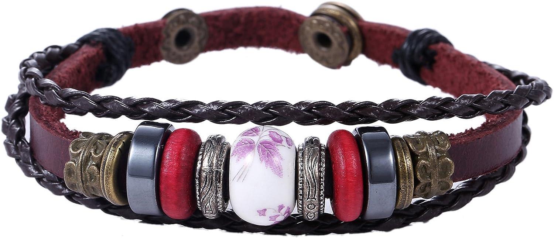 Morella Pulsera de Cuero para Mujeres con Beads, Perlas y Colgantes