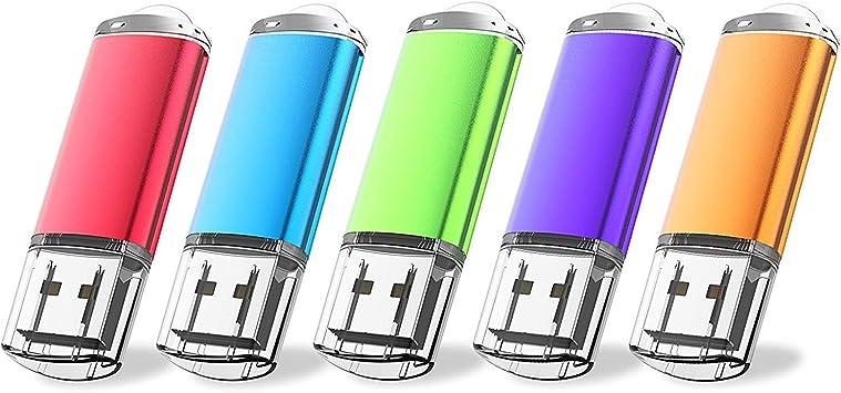 16GB5 mixcolor5 wellsenn USB Drive 5 X 16 GB USB Flash Drive 16 gb Thumb Drive Memory Stick Swivel Keychain Design Mixcolor Flash Drive