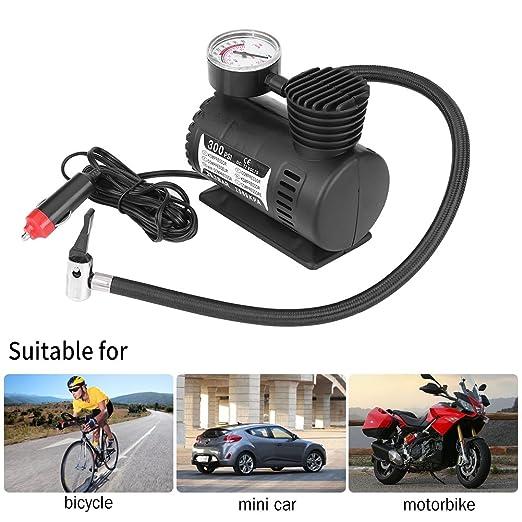 Qiilu 12V 300 PSI Mini Compresor de Aire Bomba eléctrica Inflable para neumáticos Portátil Emergencia para Coche/Moto: Amazon.es: Electrónica