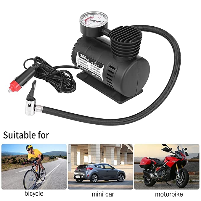 Amazon.com: VGEBY 12V 300 PSI Air Compressor Pump, Portable Auto Mini Tire Inflator with Pressure Gauge for Car Motorcycle Bicycle: Automotive