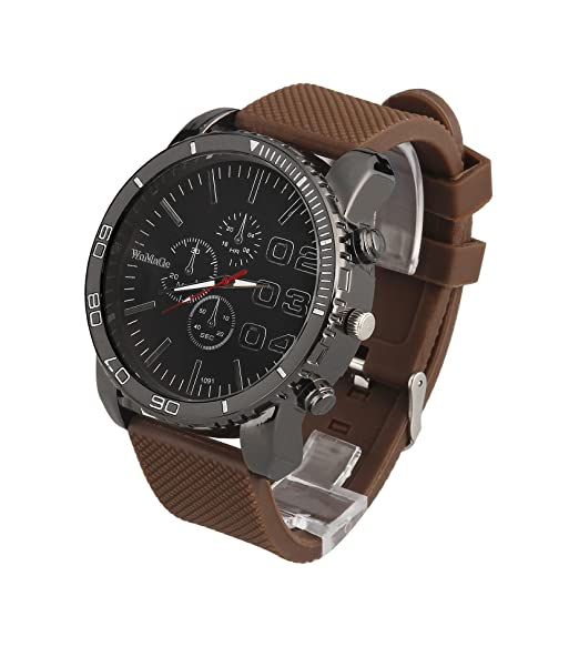 Amazon.com: ShoppeWatch Mens Big Face Watch 50mm Dark Brown Dial Silicone Band Reloj Para Hombre Brown SW1091BR: Watches