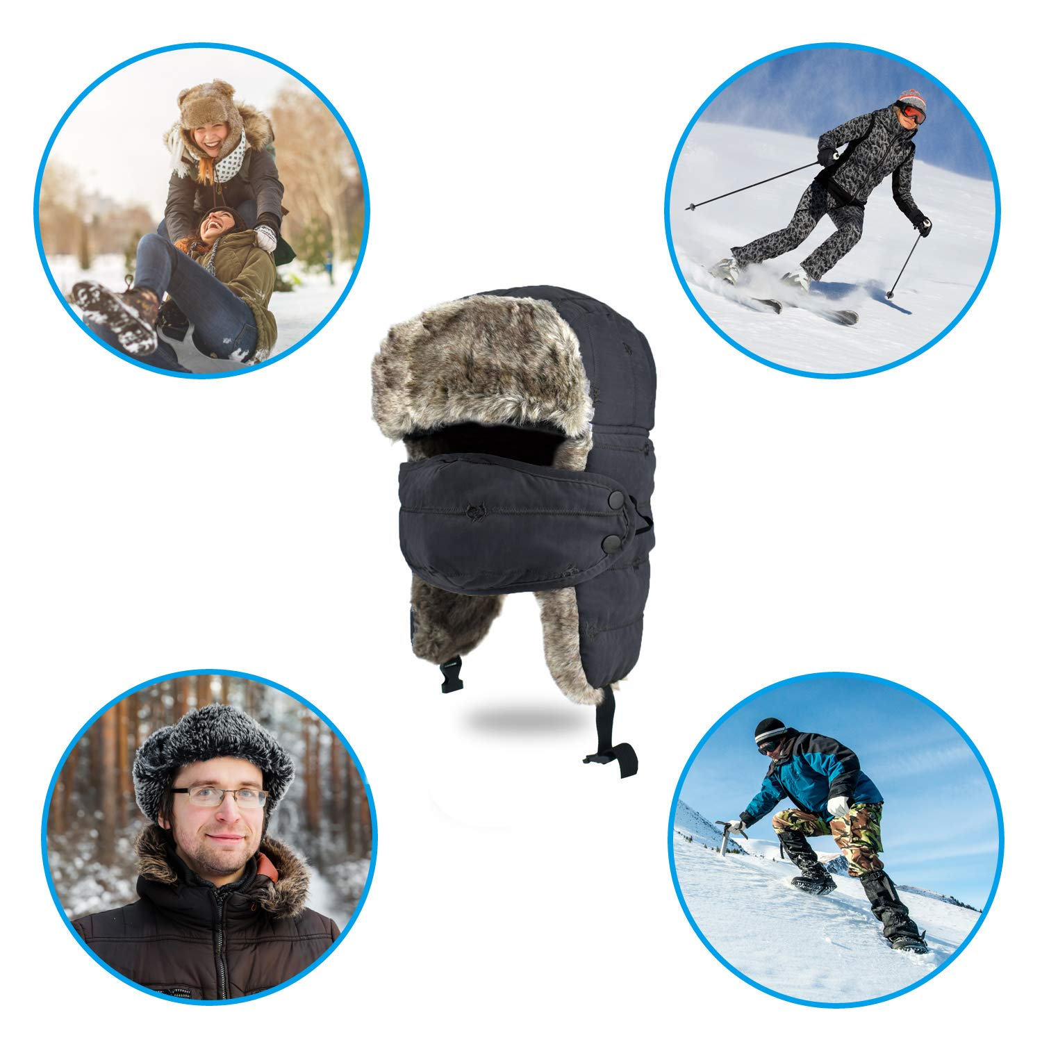Unisex Winter Trapper Hat Warm Thick Trooper Hats Winter Hats ar Flap Bomber Hat with Windproof Mask for Hiking, Skiing, Skating and Climbing (Black)