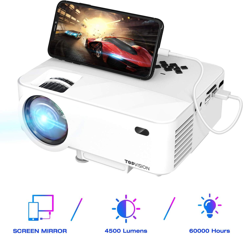 TOPVISION Mini Proyector con Pantalla de Espejo,Proyector Portátil de 4500 Lúmenes,Proyector Cine en Casa Full HD 1080P con Pantalla de 180
