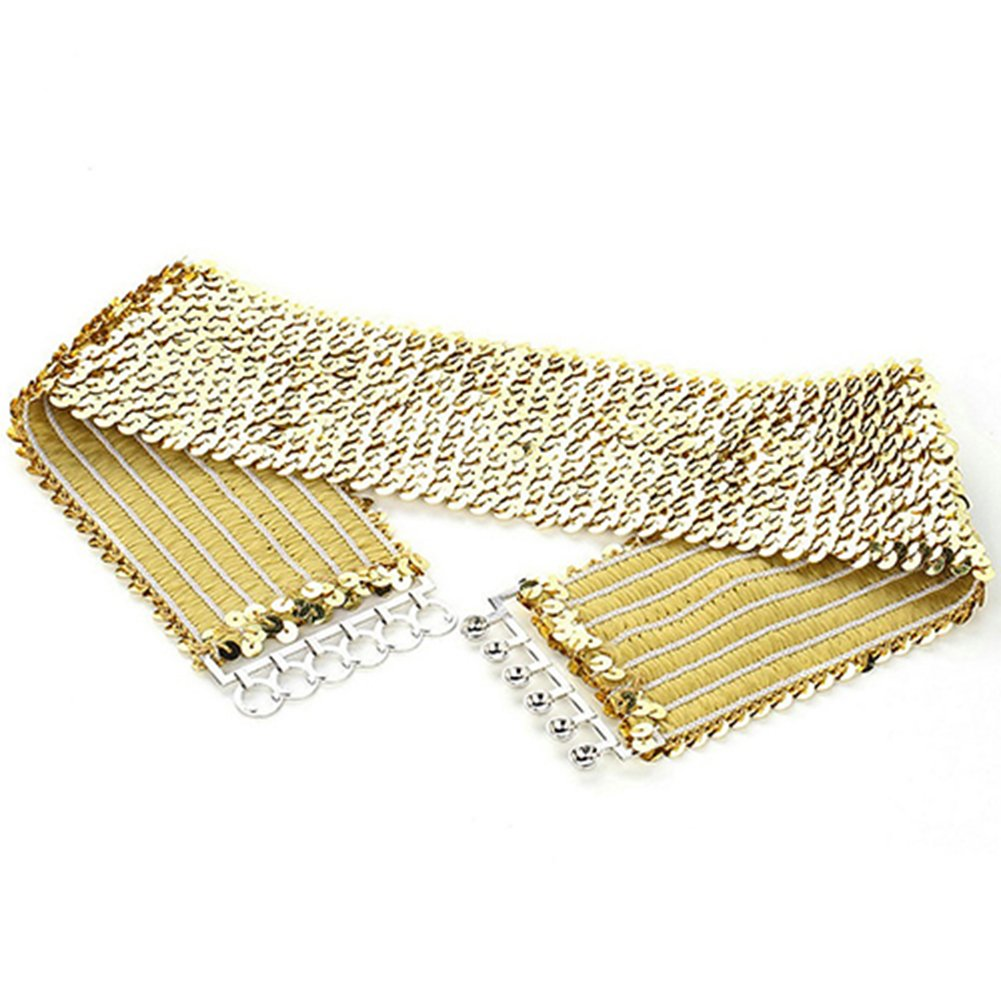 Women Sparkling Sequins Wide Waist Belt Elastic Stretch Waistband Cinch Belt Strap Vintage Chunky Buckle Belts (Gold)