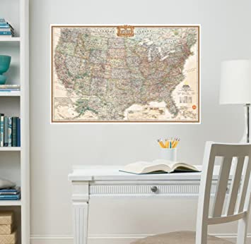 Wall Pops WPE WPE Nat Geo US Map Executive Wall Decals - Us road map wall decals