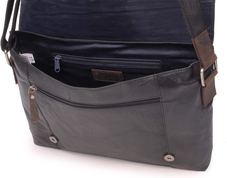 ASHWOOD Compatible Ordinateur Portable Cuir Vintage Texture F-85 Sac Bandouli/ère//Besace//Messenger Noir