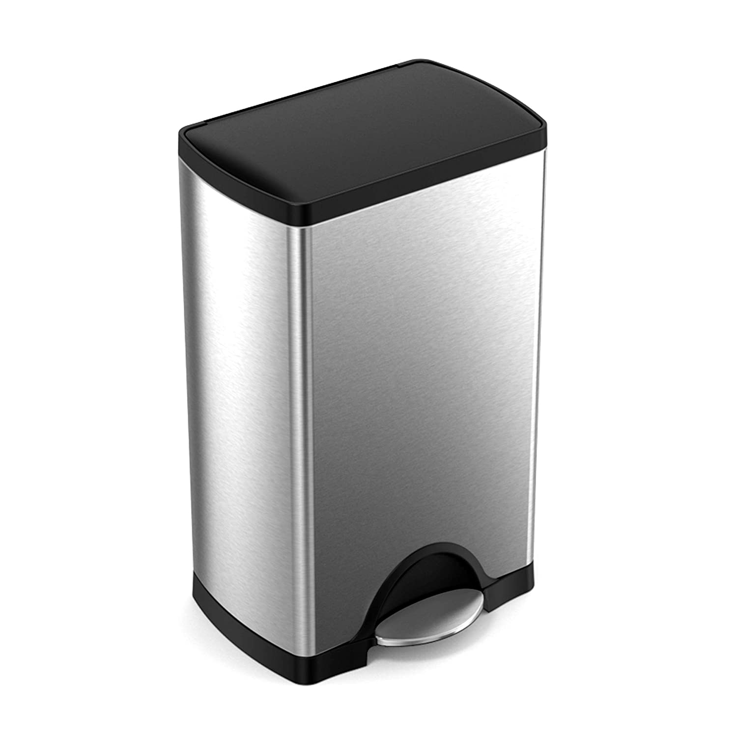 simplehuman 38 Liter 10 Gallon Stainless Steel Rectangular Kitchen Step Trash Can Brushed with Plastic Lid