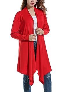 79e031421ac16 Zeagoo Women s Casual V-Neck Waterfall Cuffed Sleeve Open Front Long Cardigan  Sweater Coat