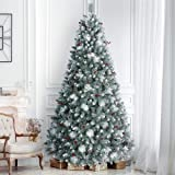 ANOTHERME 9ft Pre-Lit Christmas Tree, 850 Warm Lights UL Certified, Pinecones &Berries Hinged Artificial Trees Flocked…