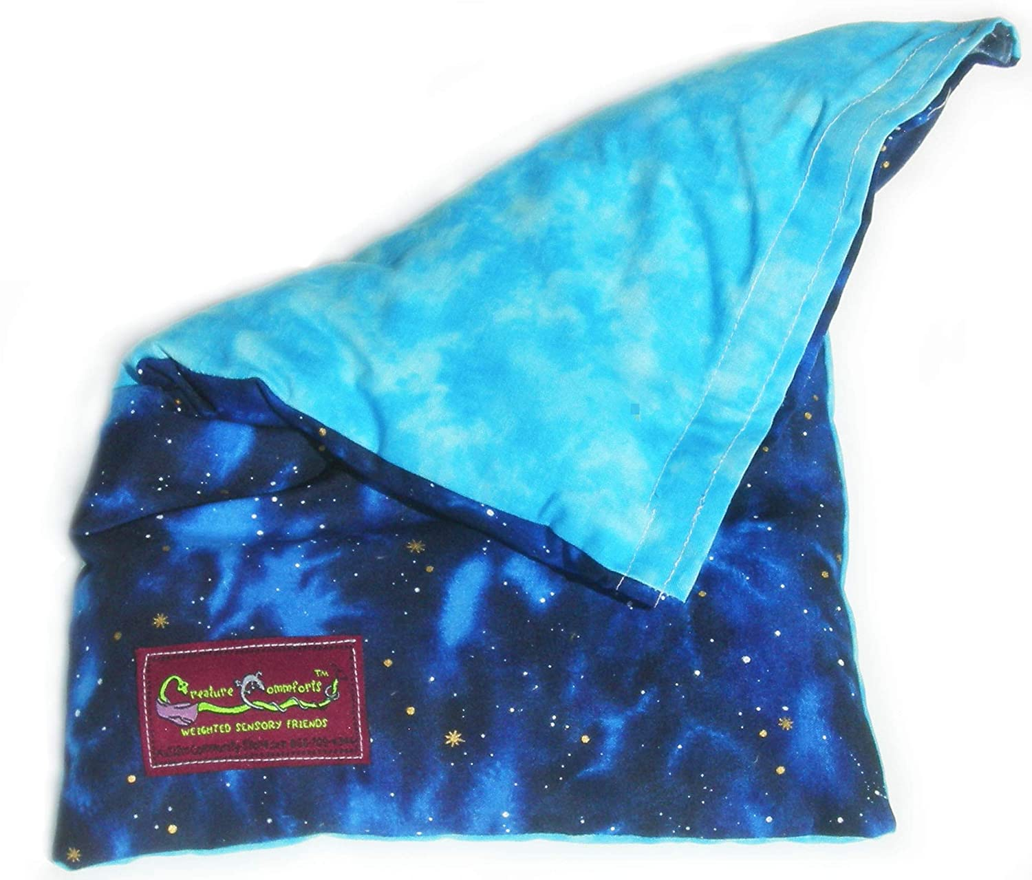 Organic Insert Night and Day Removable Cover CREATURE COMMFORTS Weighted Lap Pad 3 Pounds- for Kids Heavy Sensory Blanket Made in USA