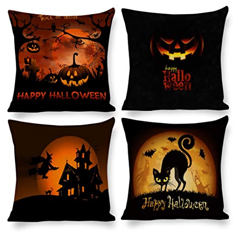 Amazon.com: M.sunflower Happy Halloween - Juego de 4 fundas ...