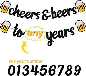 Cheers 30 35 40 50 60 70 80 90 Years Banner Happy Birthday Decorations for Men Women Him Her Any Years Old Birthday Anniversary Party Supplies Sparkle Black Decor
