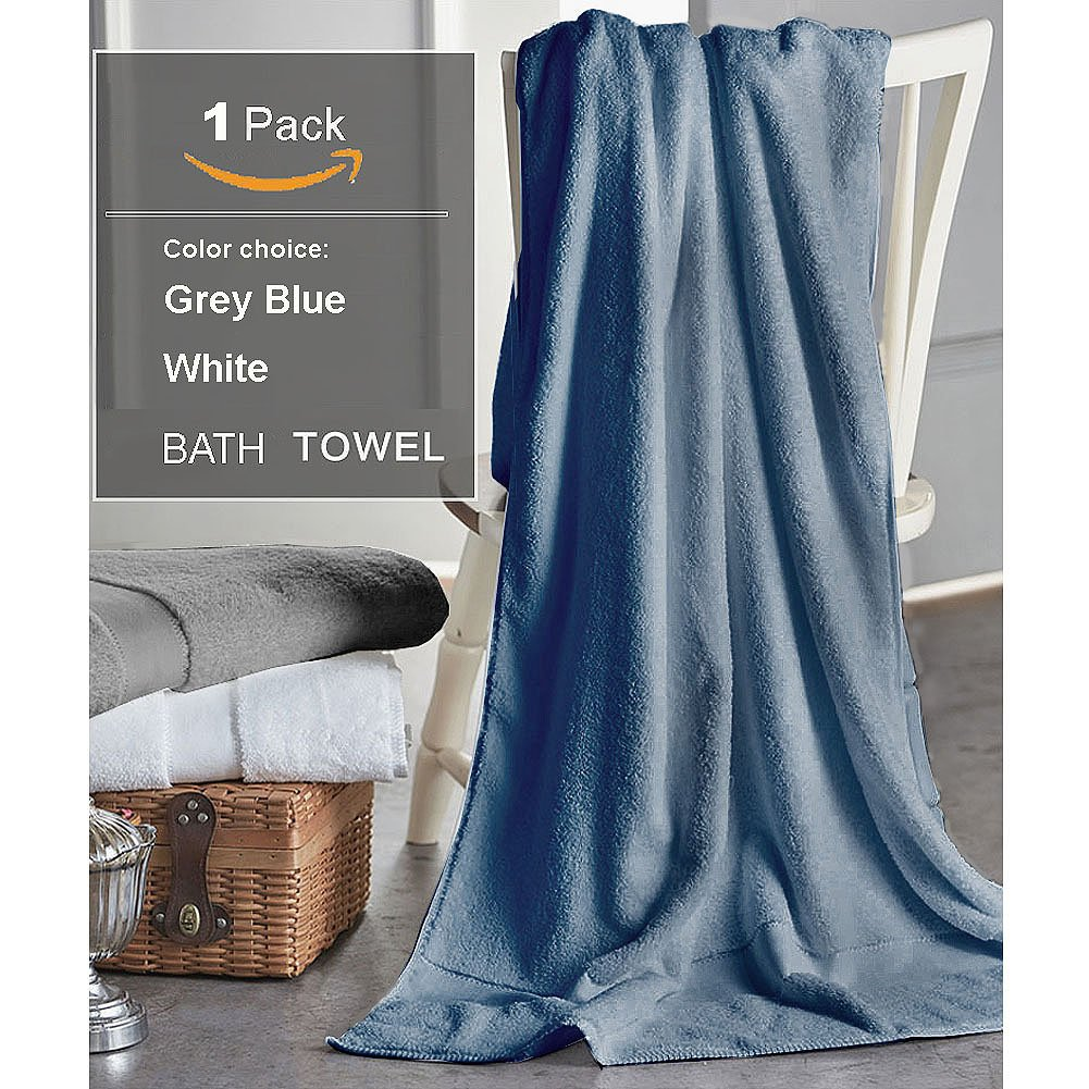 Cotton Bath Towels Sheets for 1 Pack, 31x59 Inches Hotel Bath Sheet Sets, Soft Thick and Absorbency, Easy Care, Professional Grade Spa Towels for Home, Blue