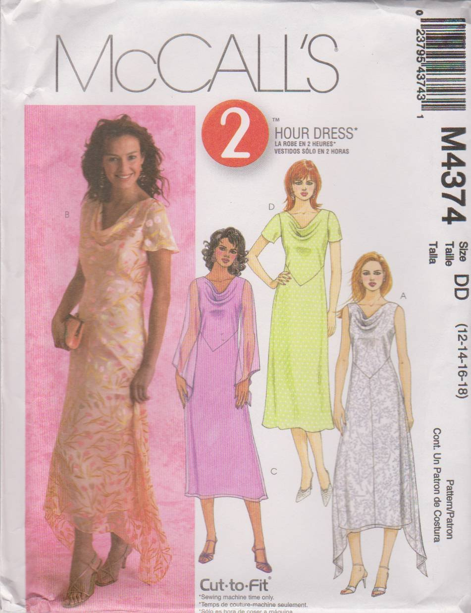 Amazon.com: McCalls 4374 sewing pattern makes Misses Dresses Sizes 12,14,16,18 by McCalls: Arts, Crafts & Sewing