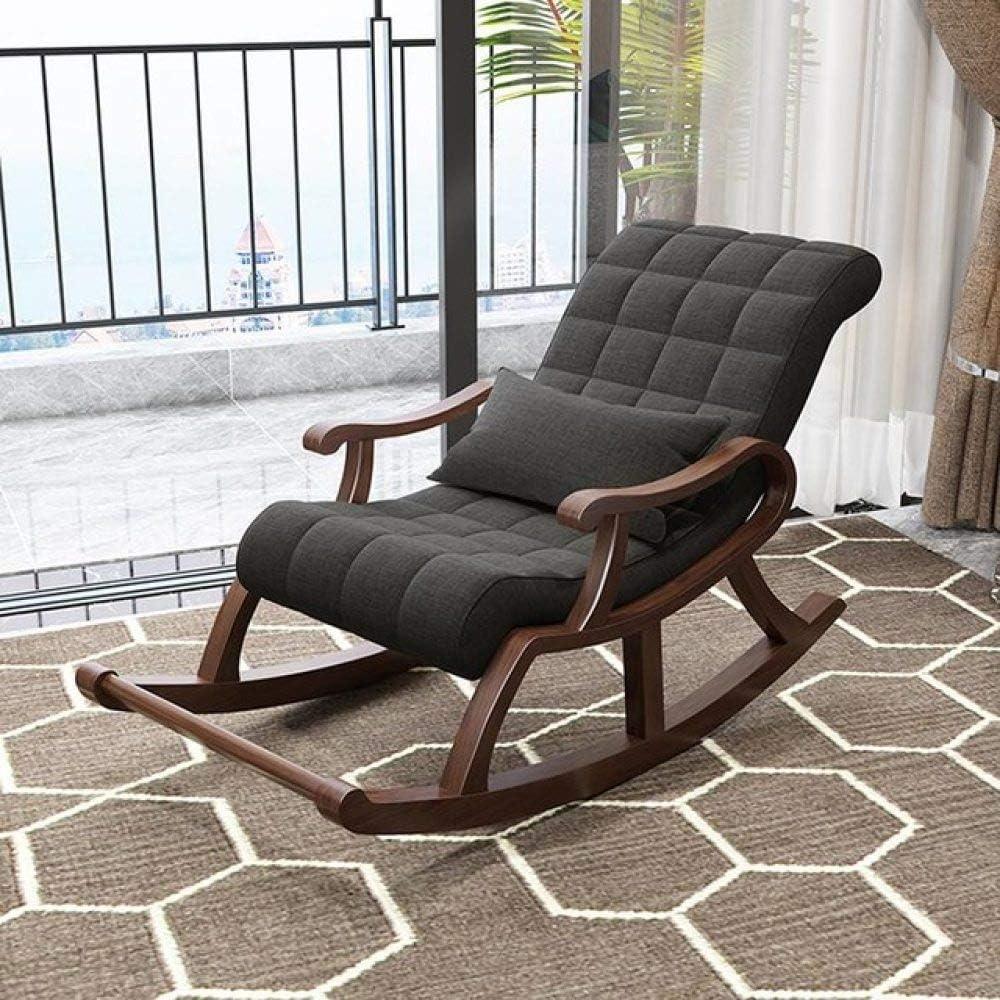 LGFSG Lounge Stuhl Massivholz Schaukelstuhl faul Freizeit Schaukel Sessel Erwachsenen Siesta Stuhl Liege Balkon Raumstuhl, Stil 2 Stil 3
